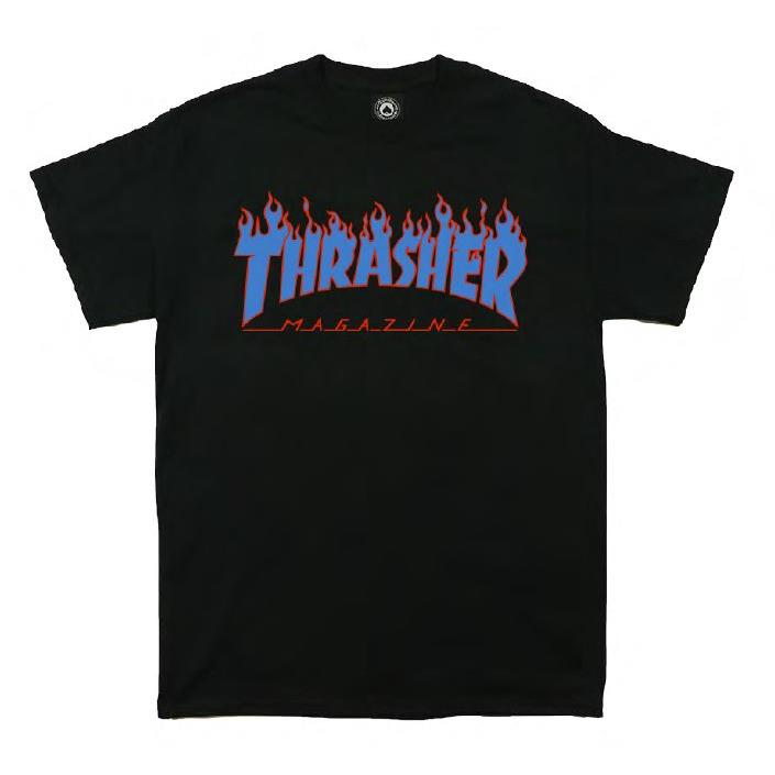 THRASHER JAPAN LICENSED FLAME T-Shirt 短TEE 火焰黑藍色