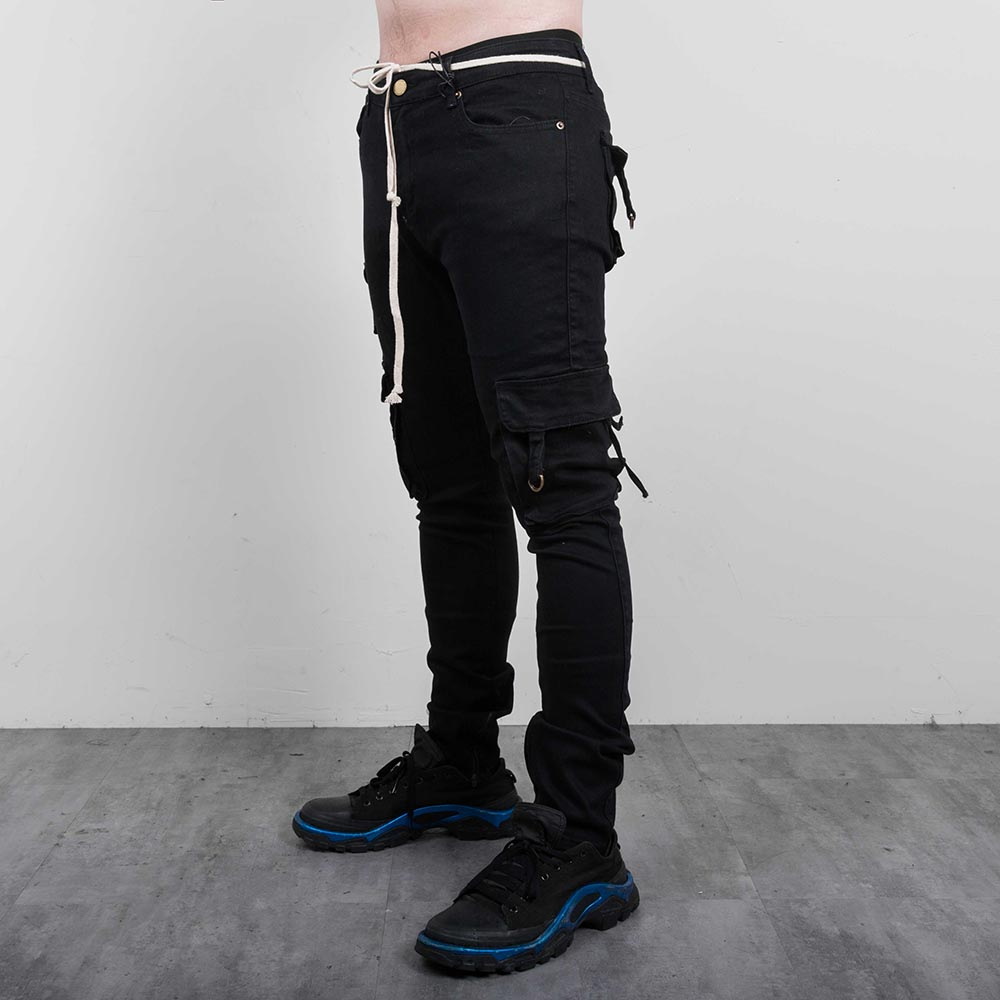 001a4065 Profound Aesthetic D-Ring Cargo Jeans In Washed Black 金屬吊環機能- Treasure Zone