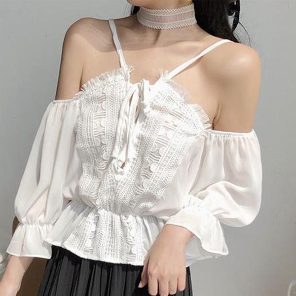 韓版交叉系綁帶一字領性感荷葉邊喇叭袖吊帶上衣vina shop 【預】top413