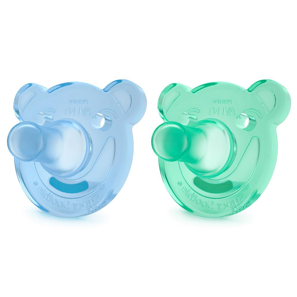 熊熊矽膠安撫奶嘴 0~3M雙入組 藍綠(SCF194/0102)_1