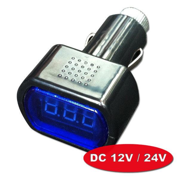 【DC12/24V】LED迷你車用數位電壓錶/電瓶電池檢測器